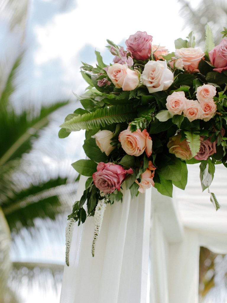 Wedding arch floral arrangement