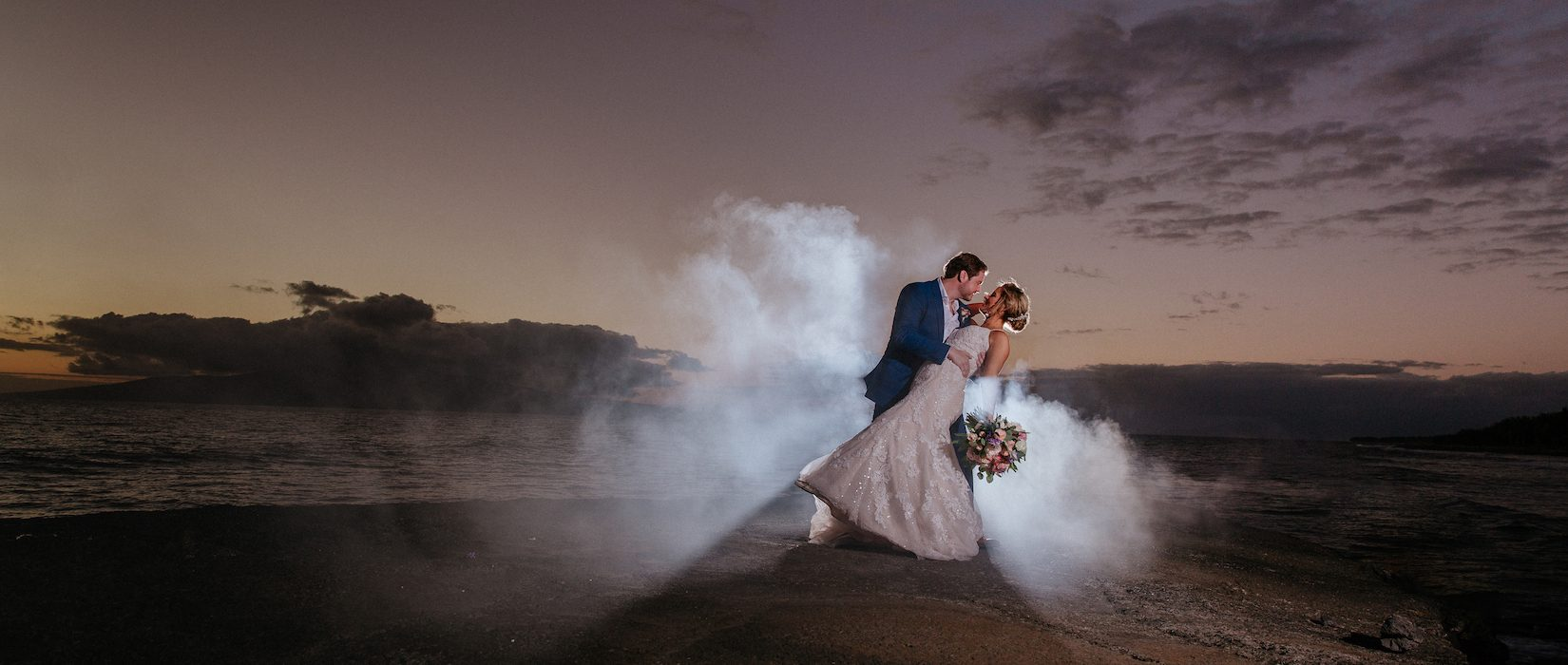 Dramatic wedding scene on the Olowalu pier.